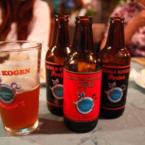 志賀高原地ビール ブラックとレッドを注文 なかなかおいしい レッドはフルーティーでKenが気に入った