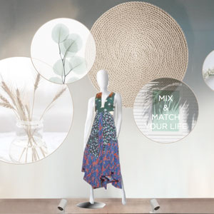 "PIMKIE X WORKSHOP > vitrine été ""flouer summer"" esprit DIY"
