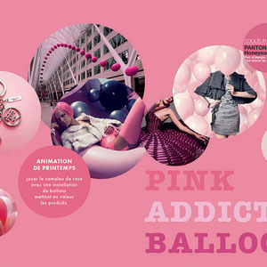 "UNIBAIL RODAMCO X SAGUEZ&PARTNERS > ""pink addict balloon"". moodboard thématique vitrine so ouest"