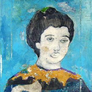 """""""la donna di San Martino"""" acrilici su tela con segni a matita, foglia oro e tracce di carta giornale cm30x40"""