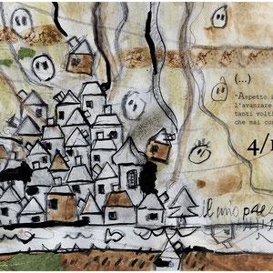 """""""cent'anni in un segno a matita"""" acrilici, tratto a matita, colorato con terra rossa ed erba su busta sacco cm23x16"""