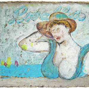 """""""Rosalba"""" acrilici, acquarelli e matite colorate con graffi su carton legno  cm60x80"""
