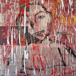 """""""notte kafkiana"""" acrilico su fogli di giornale su tela cm40x50"""