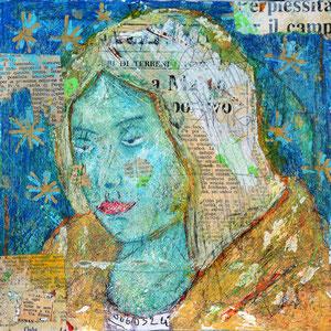 """""""Madonnina con la sciarpa d'oro"""" acrilici e tratto a matita con inserti di carta giornale su tela graffiata cm20x20"""