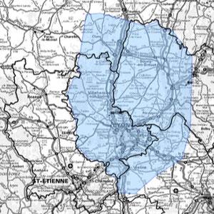 DAB+ multiplex Lyon étendu, canal 6A