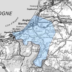 DAB+ multiplex Bayonne étendu, canal 8B