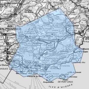 DAB+ multiplex Toulon étendu, canal 9A