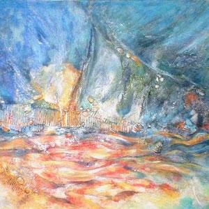 Bord de mer - peinture contemporaine de Sylvie Boulet-disponible