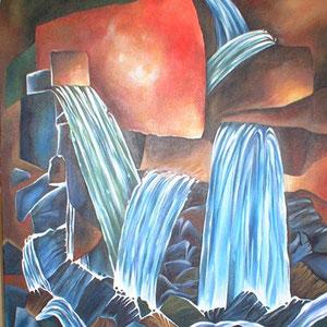 cascades - peinture contemporaine de Sylvie Boulet