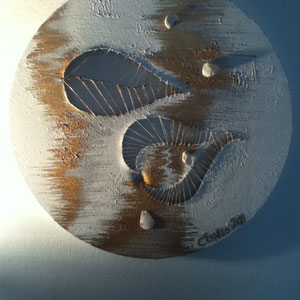 Canvas Sculpture - The Elements 1: Invisible Thread, Acrylic, Enamel & Shell, 30cm diameter, 2011.