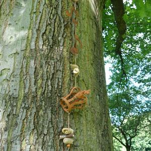 Baum Deko mit Edelrost Kette