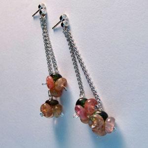 E 10 - 14K white gold dangle earrings with tourmaline beads.