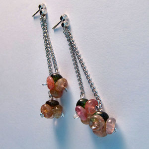 E 10 - 14K white gold dangle earrings with tourmaline beads.