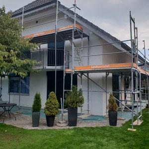 Fassadenrenovation Einfamilienhaus Malergeschäft