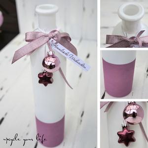 schlichte weiße vase... farbig abgesetzt, mit passender deko verziert und fertig zum verschenken...