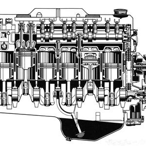 Schnitt durch den Motor (Seitenansicht)