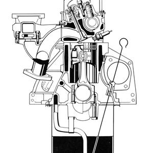 Schnitt durch den Motor (Frontansicht)