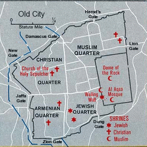 A Map Of The Old City In Jerusalem. Photo Credit © Wikimedia Commons http://commons.wikimedia.org/wiki/File%3AMap_jerusalem_oldcity.png