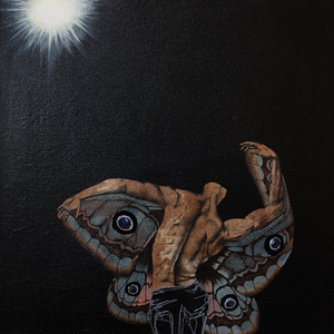 figurative moth / ink, coffee, acrylic, thread on canvas / 40cm x 40cm /2019