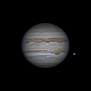 20 juillet 2020 à 23h24 TU. Jupiter accompagné de Ganyméde. Maksutov 180/2700 mm, CMOS ZWO385MC, CDA, barlow 2X, filtre UV/IR cut