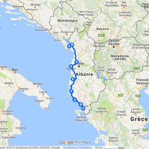 Itinéraire à vélo en Albanie - 2009