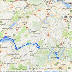 Itinéraire à vélo en Suisse - 2009 et 2015