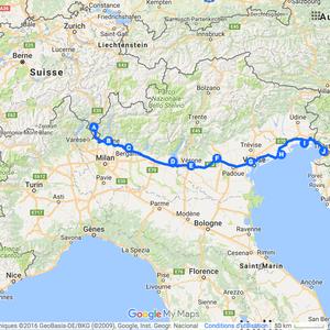 Itinéraire à vélo en Italie - 2009