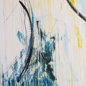 im Regen, 50x140, 2007, Acryl auf Leinwand