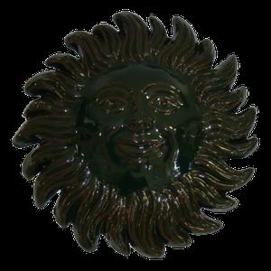 Soleil émaillé vert foncé diamètre 23 cm
