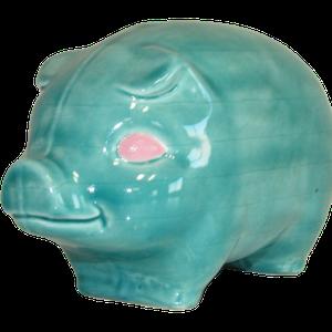 Tirelire modèle cochon couleur bleu turquoise vu de côté