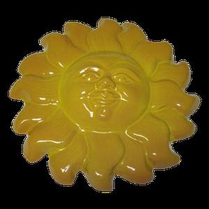 Soleil émaillé jaune diamètre 34 cm