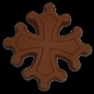 Croix occitane diamètre 14.5 avec boules terre lisse rouge