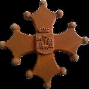 Croix occitane pleine diamètre 48 avec armoiries de TOULOUSE