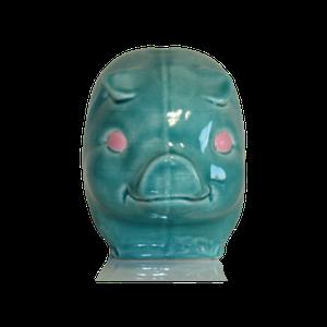 Tirelire modèle cochon couleur bleu turquoise vu de face