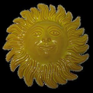 Soleil émaillé jaune diamètre 23 cm