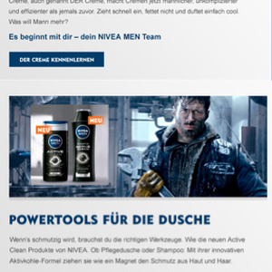 NIVEA MEN Newsletter, Kunde: Beiersdorf