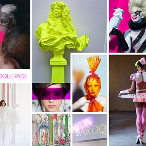 "NESPRESSO X LEVER DE RIDEAU ""neon masquerade"". moodboard soirée bal masqué revisité"