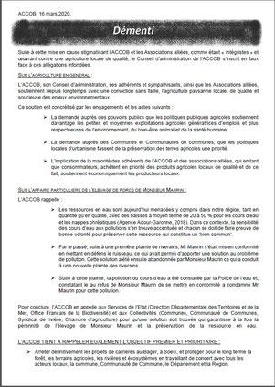L'ACCOB et associés démentent les allégations émises par Olivier Maurin sur les réseaux sociaux repris par la presse locale