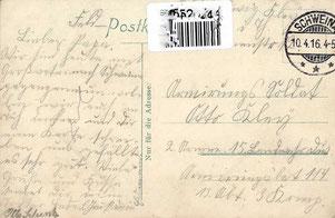 """Feldpostkarte an den """"Armirungs-Soldaten"""" Otto Kley vom 10.04.1916"""