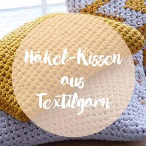 Großes Häkel-Kissen aus Textilgarn von Hoooked