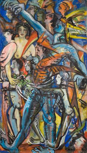 La Marseillaise, 1990,, Acryl auf Rollo, 206cm x 127cm