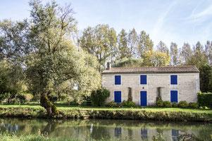 Photo été maison en pierre aux volets bleus dans le Marais Poitevin Région Aquitaine France Europe par Marie Deschene - Pakolla