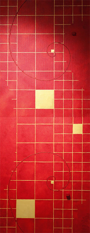 Golden Grid 8 sun red   F6×2   318mm×820mm  Acrylic 2012
