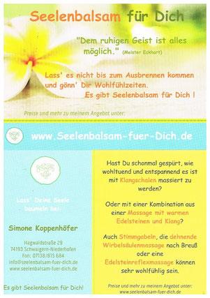 Flyer Seelenbalsam für Dich - Simone Koppenhöfer