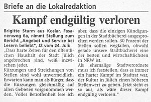 Jülicher Nachrichten vom 25.07.2003