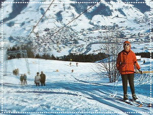 Skilift Girlen mit Skifahrern