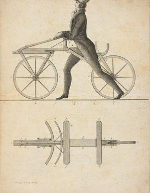 Darstellung der ersten Laufmaschine, im Jahre 1817