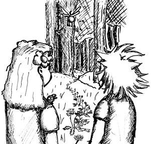 Charlie und Frida blicken auf den Pfad aus Löwenzahn, welchen die Dryade Mandragora für sie geschaffen hat, um die Stadt Schönbruch zu finden