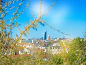 Blick vom Fockeberg auf die Innenstadt Leipzig
