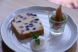 ピンクと紫色じゃがいものバターケーキ (ランチスイーツ) 9月